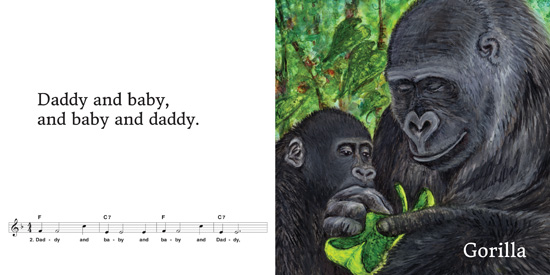 Gorilla and baby page spread