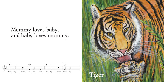 Tiger and baby page spread